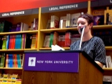 "Carley Moore, who brought the crowd, read Anne Waldman's ""How the Sestina (Yawn) Works."""